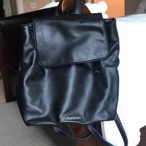 Black Leather Victoria Secret backpack Purse!